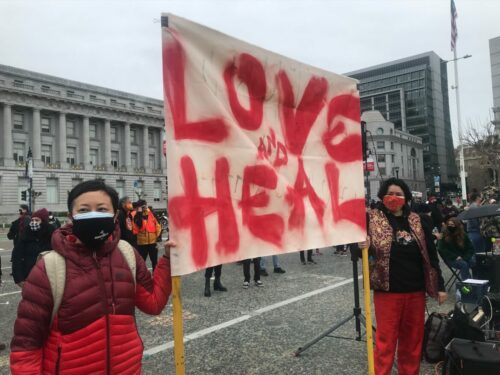 Community groups organized a gathering at San Francisco's Civic Center Plaza to call for increased investment in social services in response to recent violent attacks on Asian Americans.